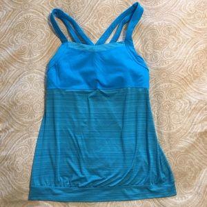 Athleta Criss Cross Workout Tank Turquoise L